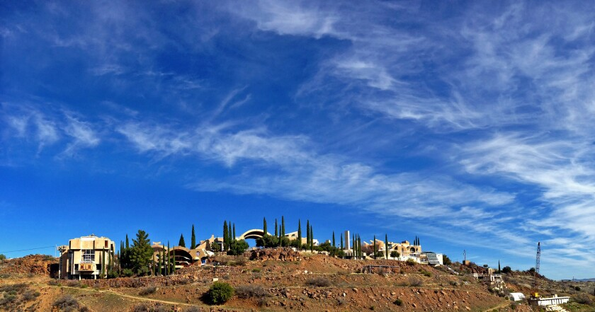 The experimental town of Arcosanti, located in central Arizona, looks much the same today as it did shortly after most of its buildings were designed by architect Paolo Soleri and constructed in the 1970s.