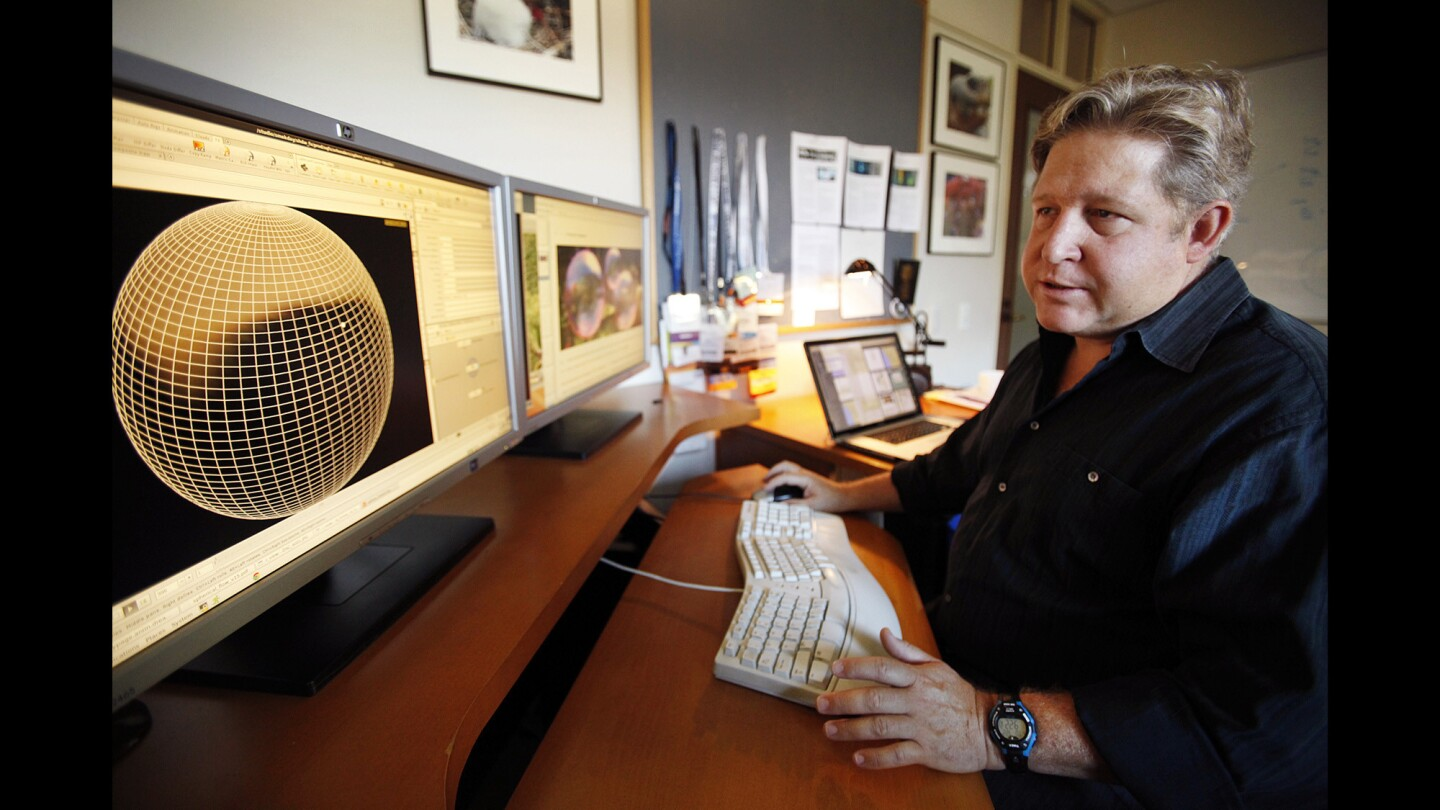 Ron Henderson, director of research and development at DreamWorks Animation, works in his office at the Glendale studio. He holds a doctorate in mechanical and aerospace engineering.