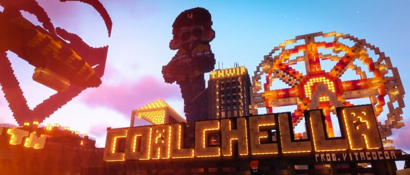 The flier for Coalchella, a virtual music festival that took place in Minecraft in 2018.