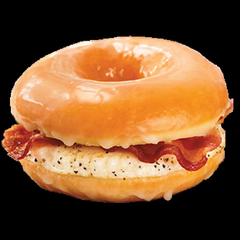 Dunkin' Donuts glazed doughnut breakfast sandwich.