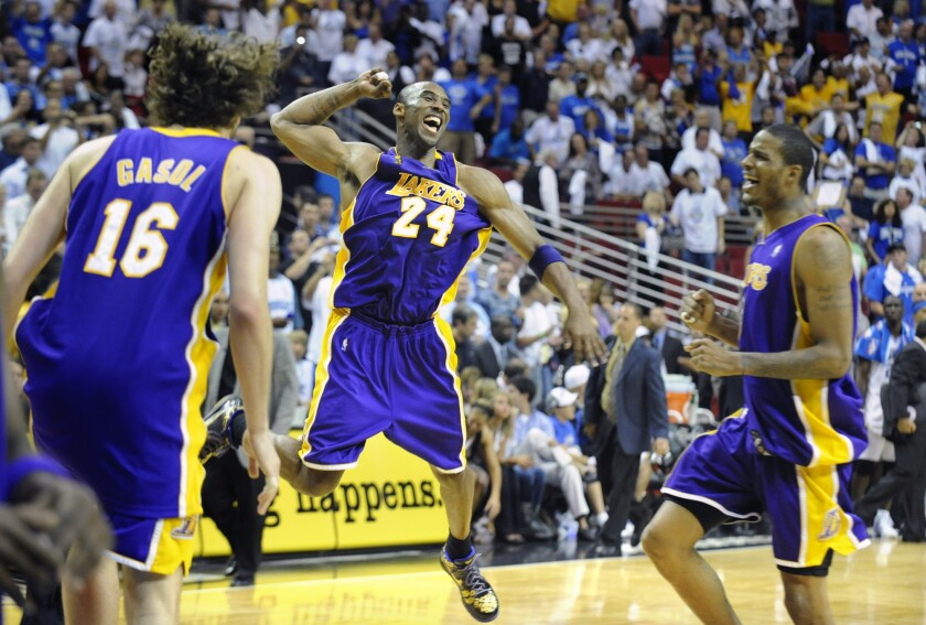 Kobe Bryant celebrates as the Lakers defeat the Magic in Game 5 of the 2009 NBA Finals to clinch the title.