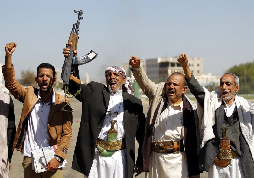 Tribesmen loyal to the Houthi group shout slogans during a gathering in Yemen's capital, Sana, on Feb. 4.