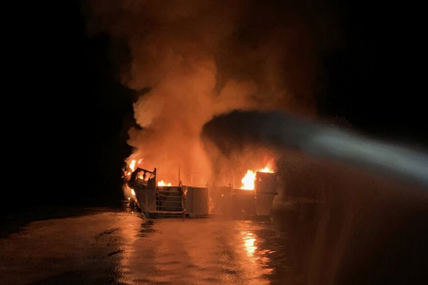 Fire aboard the Conception dive boat.
