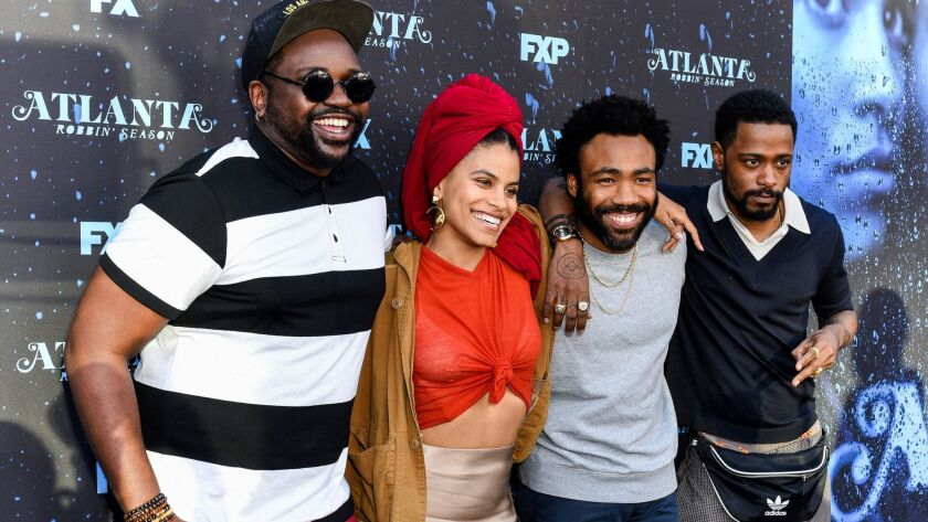 """Brian Tyree Henry, left, Zazie Beetz, Donald Glover and Lakeith Stanfield attend FX's """"Atlanta Robbin' Season"""" FYC Event at Saban Media Center. Henry, Beetz and Glover received Emmy nominations for """"Atlanta's"""" second season."""