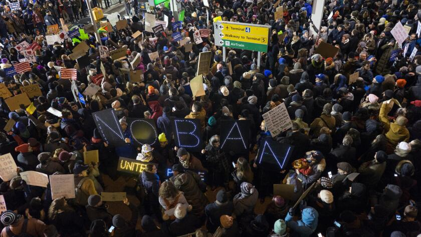 More than 1,000 San Diegans protested at Lindbergh Field recently after President Donald Trump's travel ban.