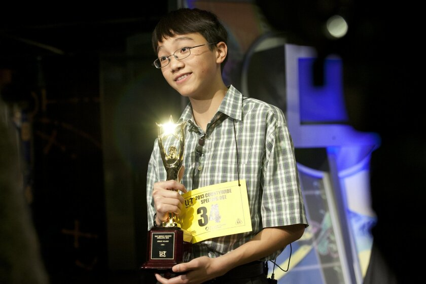 """The spelling bee winner, Giabao Tonthat from Heritage K-8 Charter earlier spelled his final and winning word """"bonspiel"""" to be declared the winner for the 44th Annual Countywide Spelling Bee."""