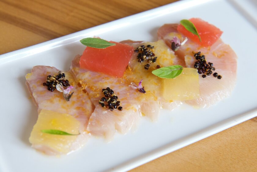 Hamachi, with compressed watermelon, lemon jam, bottarga, quinoa and Thai basil