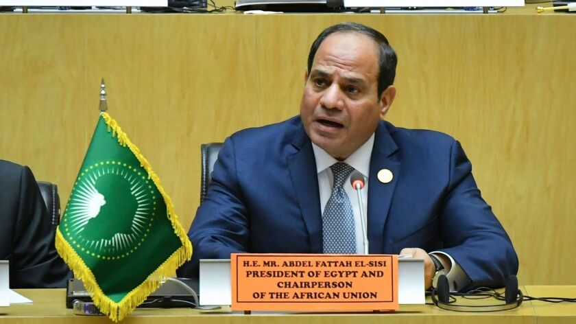 The president of Egypt, Abdel Fattah Sisi, at the 32nd African Union Summit in Addis Ababa, Ethiopia, on Feb. 11.