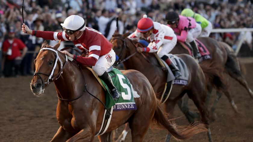 Florent Geroux, left, rides Gun Runner to victory in the Breeders' Cup Classic last November at Del Mar.