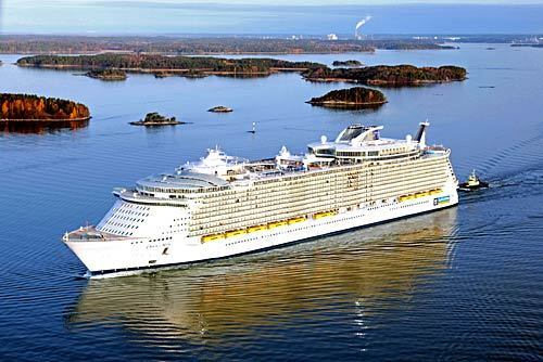 Oasis of the Seas, the world's largest cruise ship, heads out on its maiden voyage Friday from Turku, Finland, where it was built.