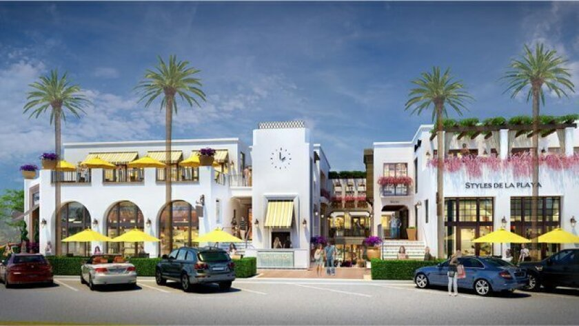 Artist rendering of the new La Plaza La Jolla boutique shopping complex under development at Wall Street and Girard Avenue. Courtesy