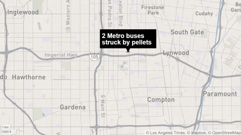Two Metro buses were shot at with pellets Monday night, shattering some windows. No passengers were injured.