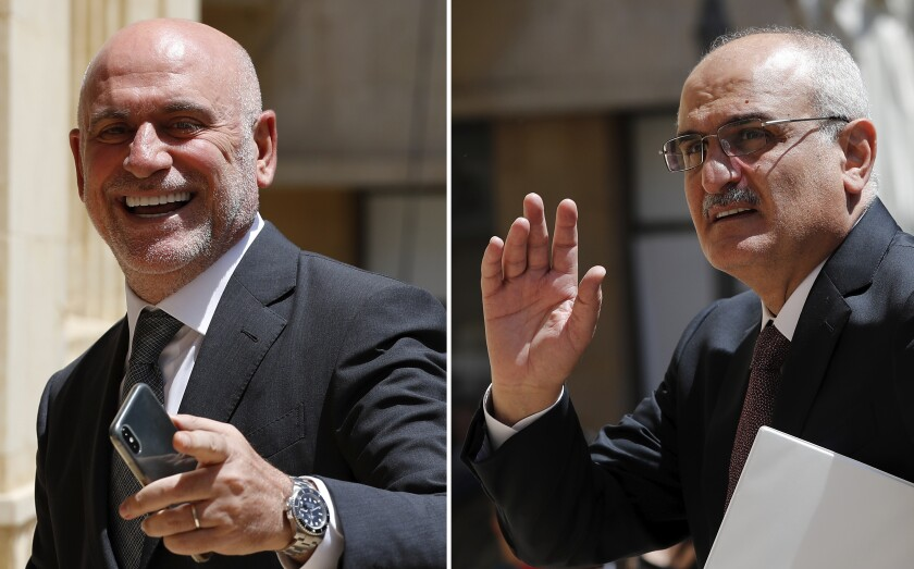 "A combo picture shows Lebanese Public Works and Transportation Minister Youssef Fenianos entering parliament in Beirut, Lebanon, May 23, 2018, left, and Lebanese former Finance Minister Ali Hassan Khalil arriving at the parliament, in Beirut, Lebanon, July 16, 2019. The U.S. Treasury on Tuesday, Sept. 8, 2020 sanctioned Fenianos, a senior member of the Christian Marada Movement that is allied with Hezbollah and the Syrian government, and Khalil, currently a member of the Lebanese Parliament, saying they ""provided material support to Hezbollah and engaged in corruption."" (AP Photo/Hussein Malla)"
