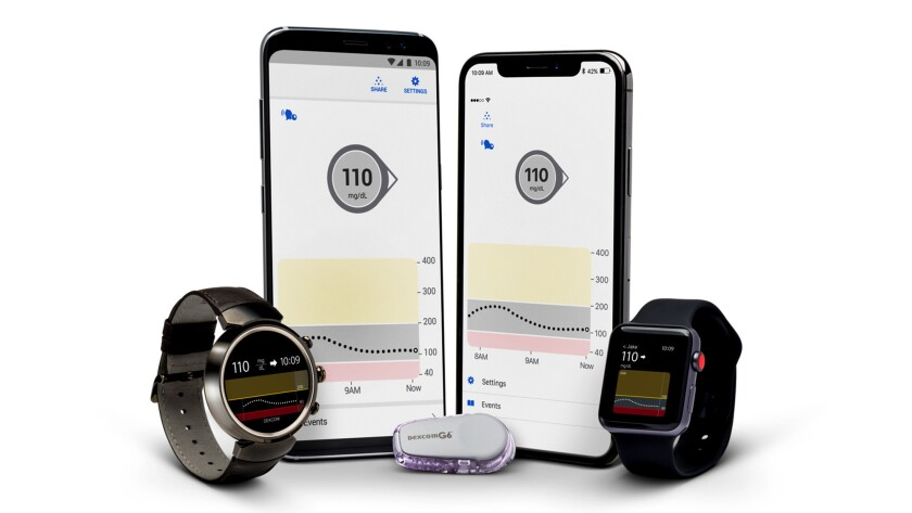 Dexcom's G6 continuous glucose monitor, center, which is shipping to patients this week, can feed blood-sugar data into smartphones and wearable devices.