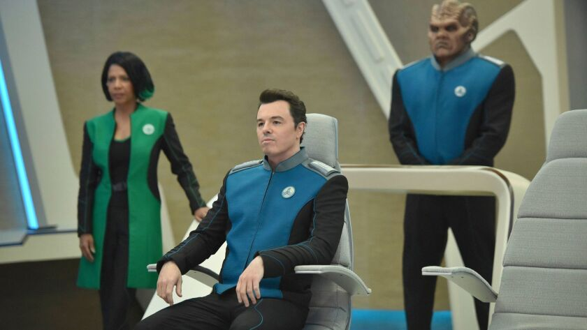 "Penny Johnson Jerald, Seth MacFarlane, center, and Peter Macon in a scene from ""The Orville,"" premiering Sept. 10 on Fox."
