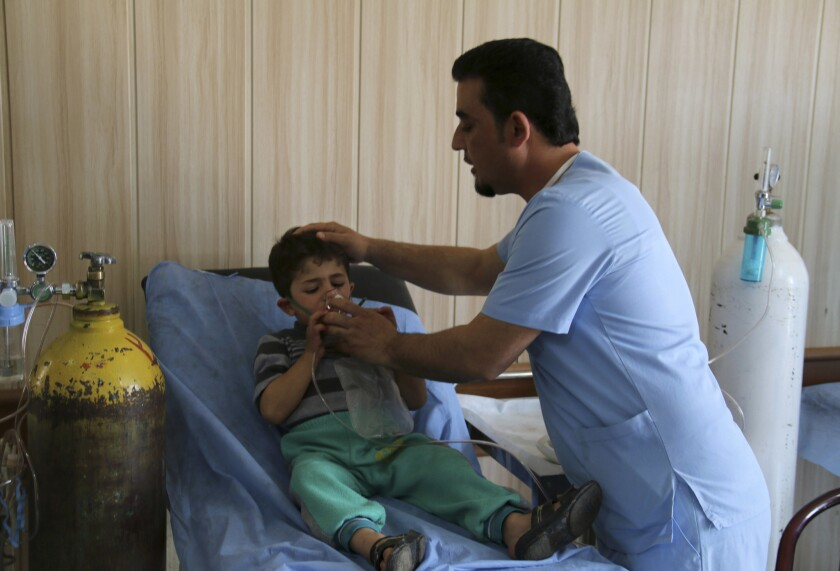 3-year-old Mohammed Hussein is treated Friday at a hospital in Taza, Iraq, after a chemical attack by Islamic State.