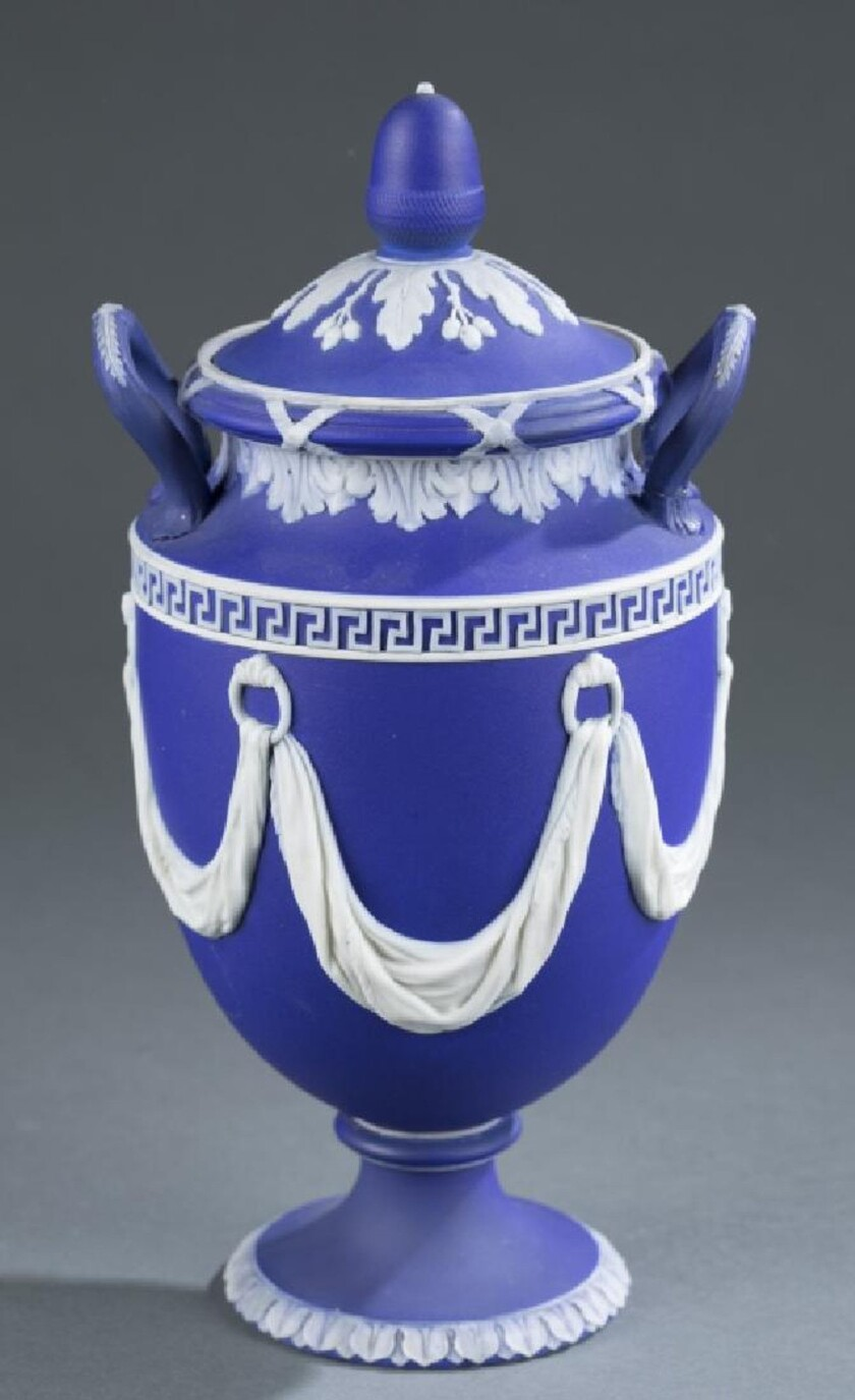The 19th-century Wedgwood Jasperware urn brought $1,000 this month at Quinn's Auction Galleries in Virginia.
