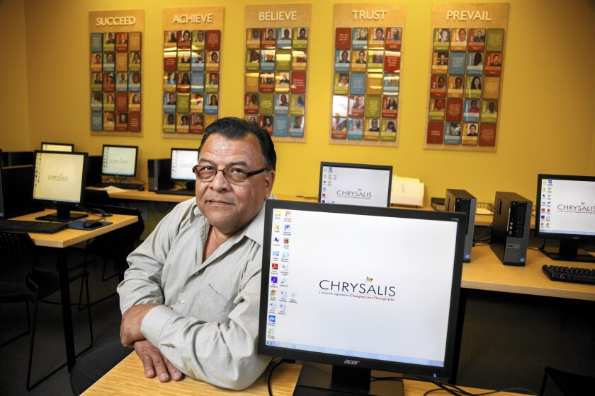 Rafael Martinez, who has endured long periods of unemployment since 2011, was aided by Chrysalis, a nonprofit that helps people find jobs.