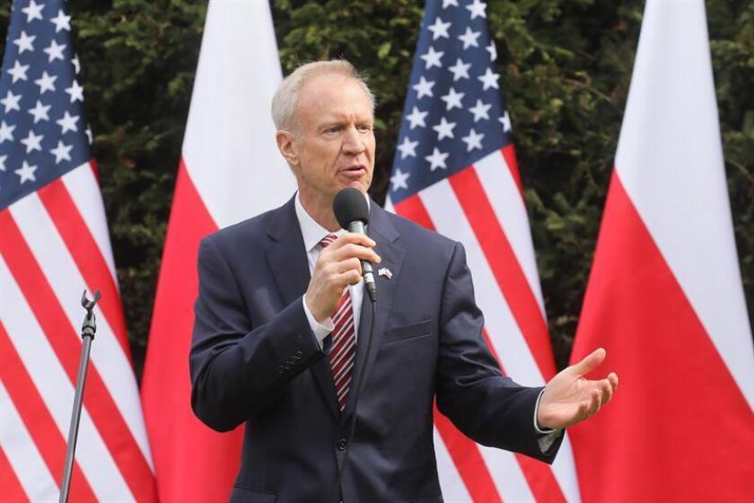 Governor of the USA state of Illinois Bruce Rauner speaks during a ceremony in Warsaw, Poland. EFE/EPA/FILE/ POLAND OUT