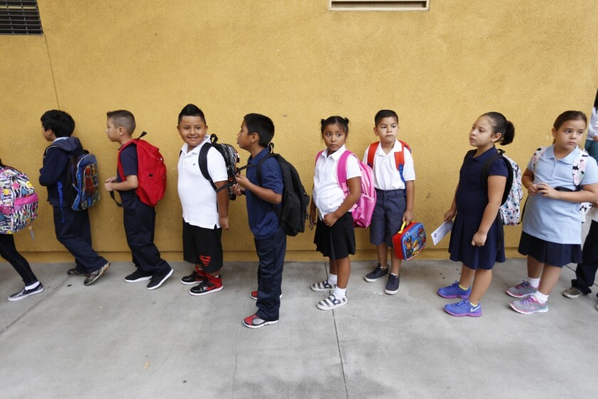 First-grade students at Vine Street Elementary School in Hollywood.