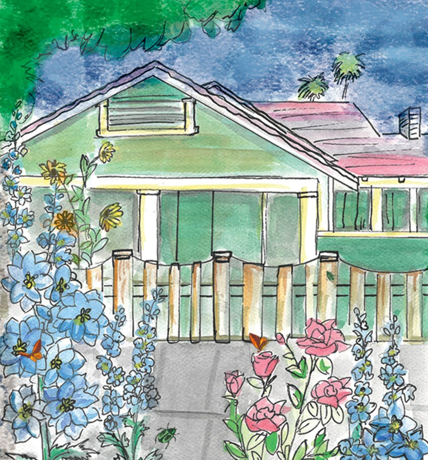 A watercolor of Susan Straight's house in Riverside.
