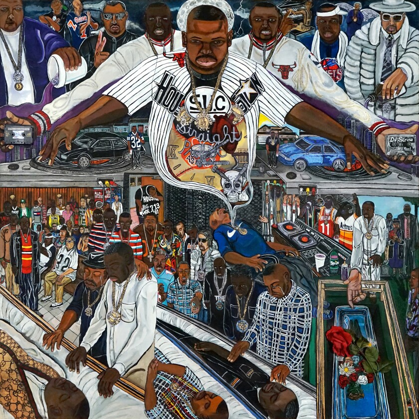 A painting shows the figure of a Black man hovering over various scenes, including a funeral