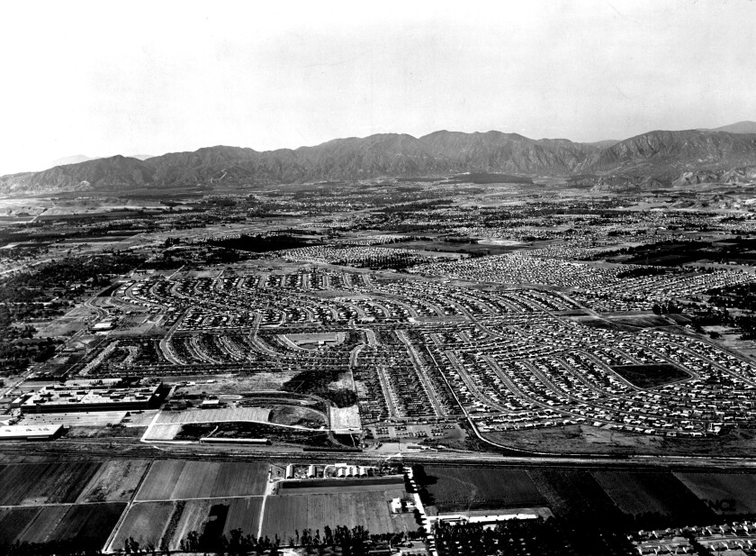 Aerial photograph of San Fernando Valley in 1953