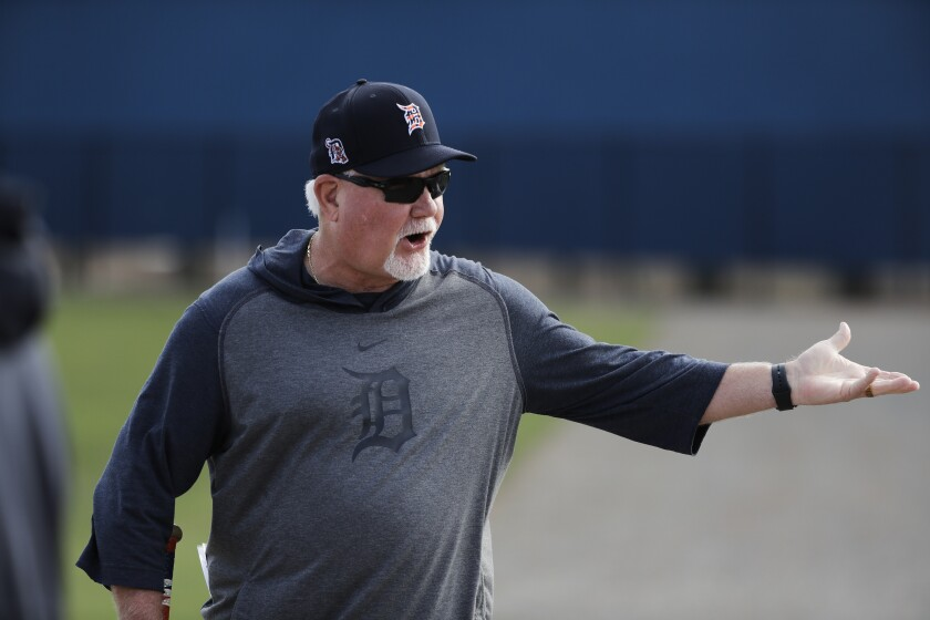 Detroit Tigers manager Ron Gardenhire during a spring training baseball workout Saturday, Feb. 15, 2020, in Lakeland, Fla.