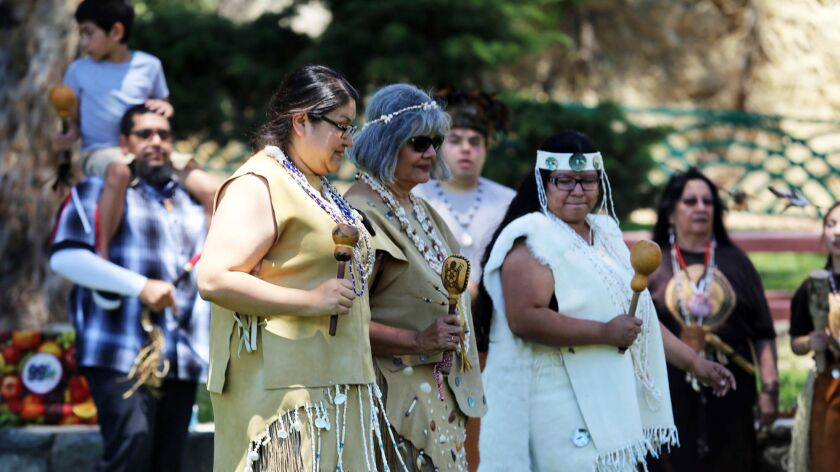 "Women from the Gabrielino Tongva tribe perform ""circle of life"" a traditional dance honoring women d"