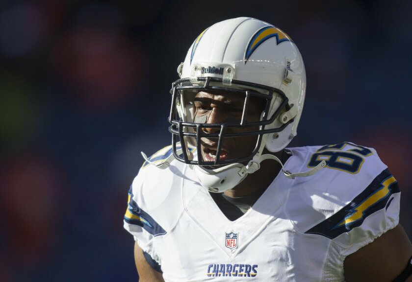 San Diego Chargers vs. The Denver Broncos at Sports Authority Field. Antonio Gates.