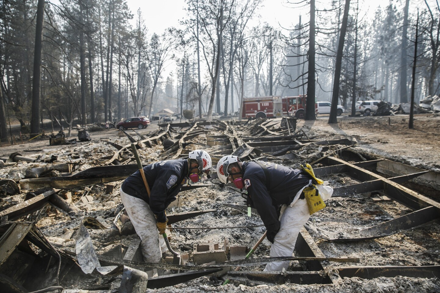 A search-and-rescue team carefully scans the area where there might be human remains after the Camp fire destroyed most of Paradise, Calif.