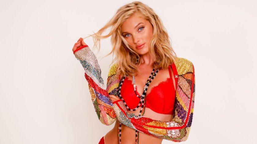 Elsa Hosk at a fitting for her Victoria's Secret Fashion Show Swarovski look.