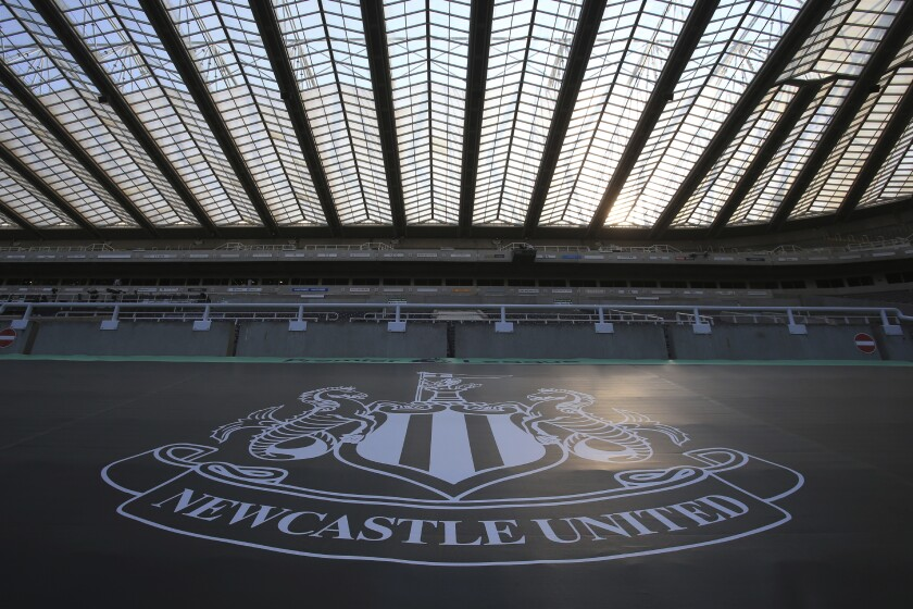 Empty seats during the English Premier League soccer match between Newcastle United and Aston Villa at St James' Park stadium in NewCastle, England, Wednesday, June 24, 2020. (Lindsey Parnaby/Pool via AP)