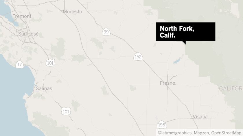 Map shows location of North Fork, Calif.