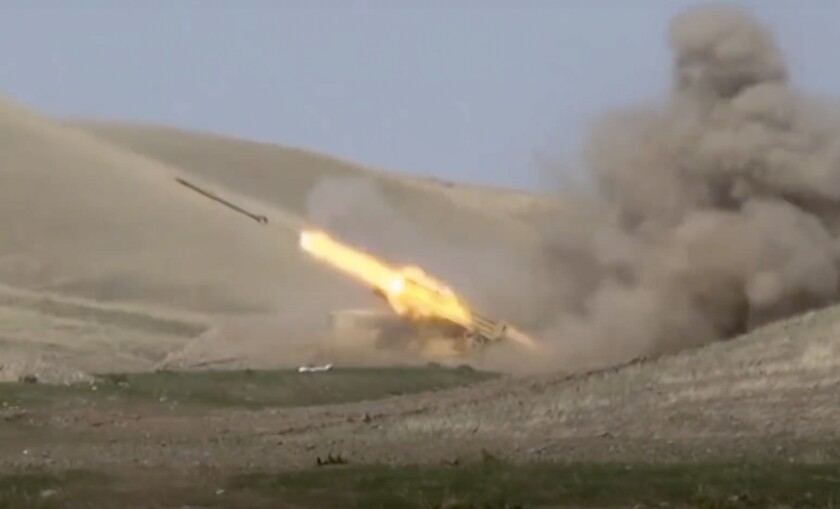 An Azerbaijani rocket is launched near the border of the disputed Nagorno-Karabakh region.