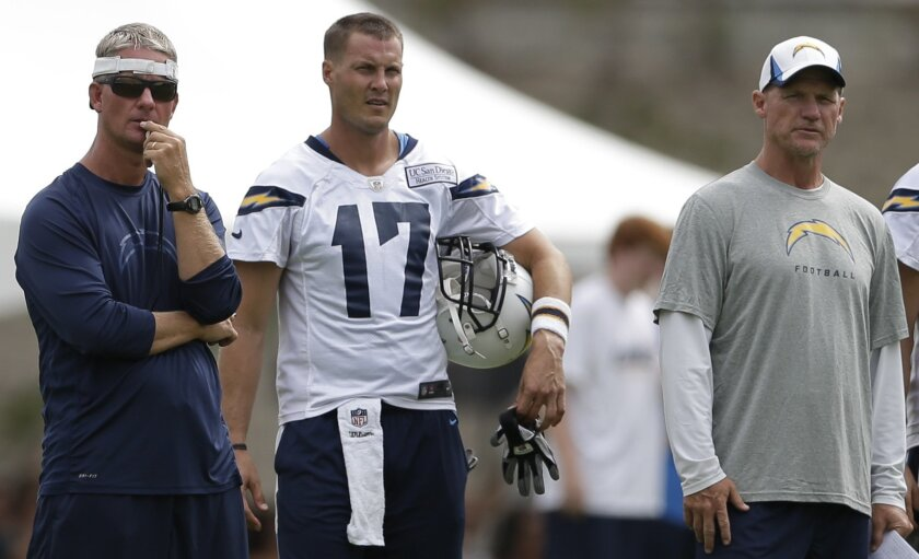 Chargers coach Mike McCoy (left), quarterback Philip Rivers (middle) and offensive coordinator Ken Whisenhunt have found a rhythm to begin the season.