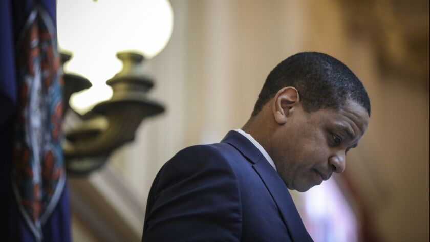 Lt. Gov. Justin Fairfax presides over the state Senate at the Virginia Capitol in Richmond on Feb. 7.