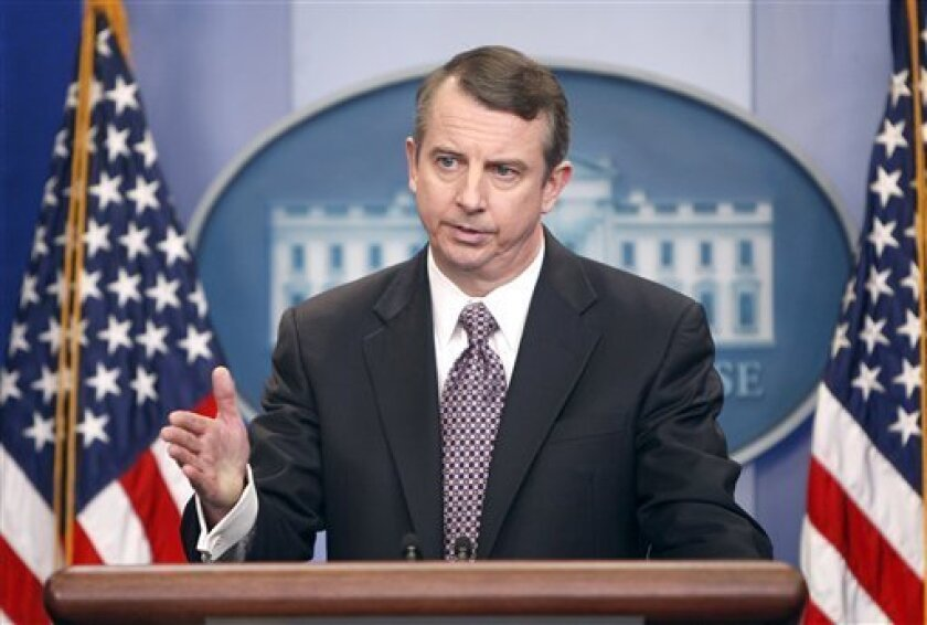 FILE - In this Jan. 15, 2009 file photo, then-Counselor to the President Ed Gillespie briefs reporters at the White House in Washington. (AP Photo/Ron Edmonds, File)