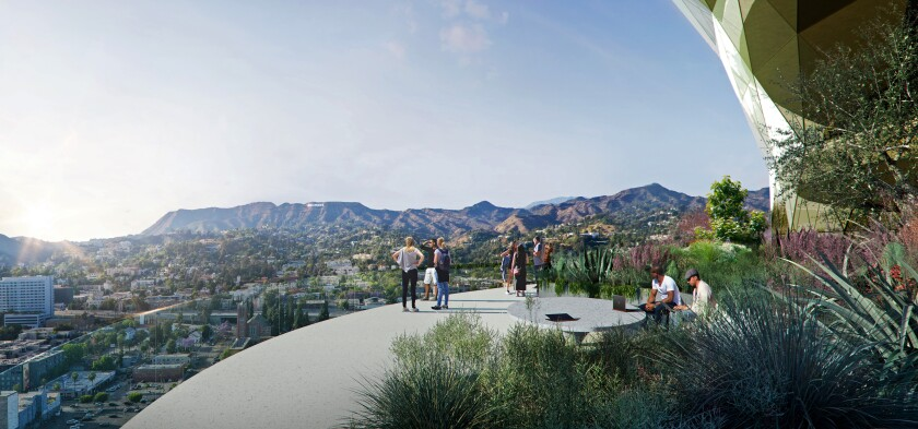 A rendering of a garden for tenants on the 17th floor of the proposed Star high-rise in Hollywood.