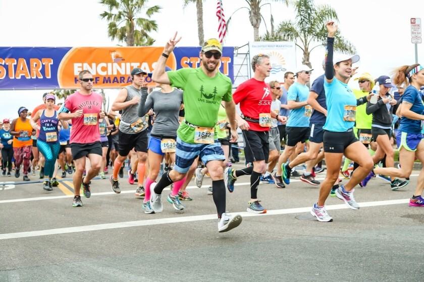 Running enthusiats partake in the Encinitas Half Marathon.