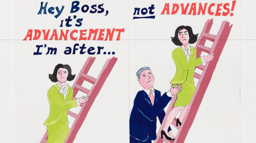 """Erika Rothenberg's """"Hey Boss"""" (detail), gouache and ink on paper, 1992."""