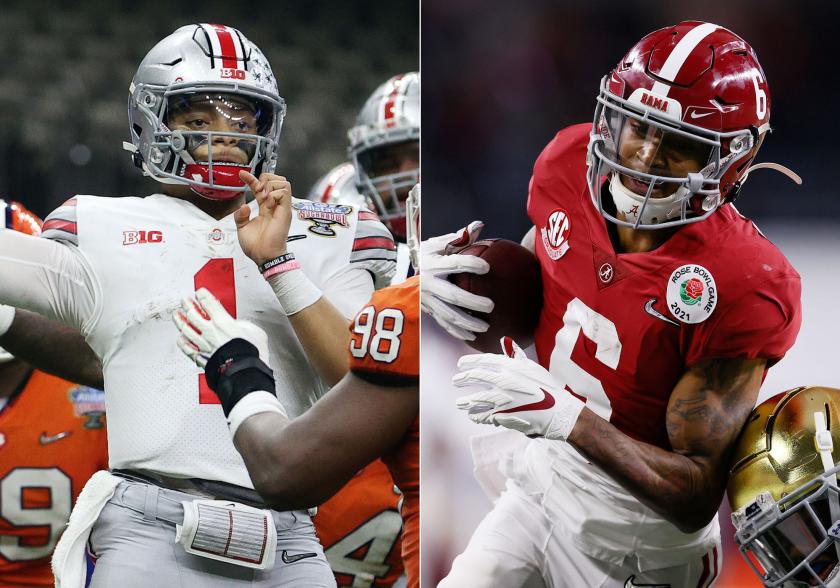Ohio State quarterback Justin Fields and Alabama wide receiver DeVonta Smith.