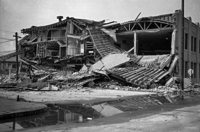 March 11, 1933: The heavily damaged Masonic Temple in Compton, following the March 10, 1933, Long Beach earthquake.