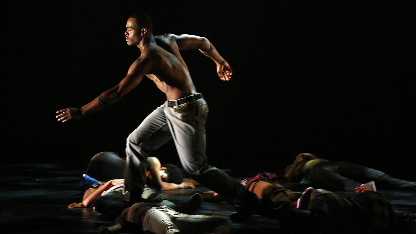 """Jamar Roberts is featured in """"Exodus"""" as performed by the Alvin Ailey American Dance Theater at the Segerstrom Hall in Costa Mesa."""