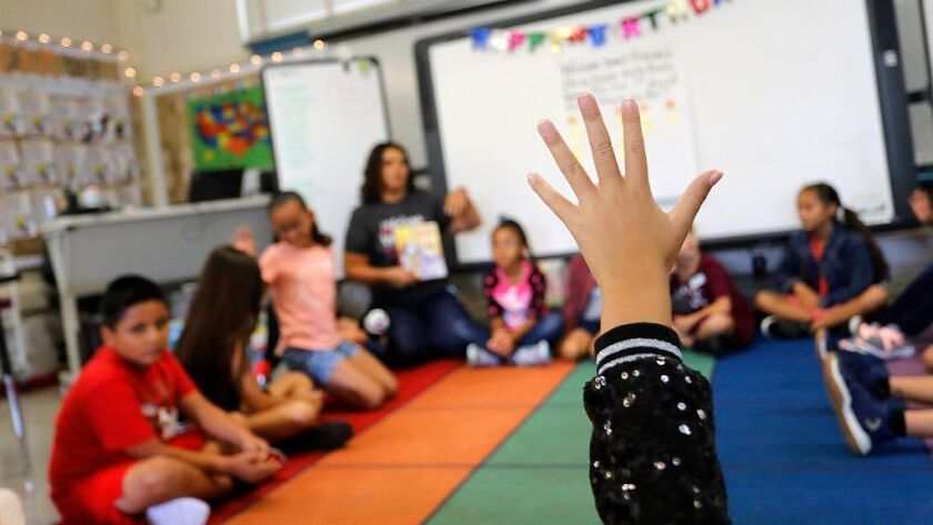 At Sequoia Elementary School, teacher Claudia Wells welcomed students in her second and third grade combined class on the first day of the 2018-2019 school year.