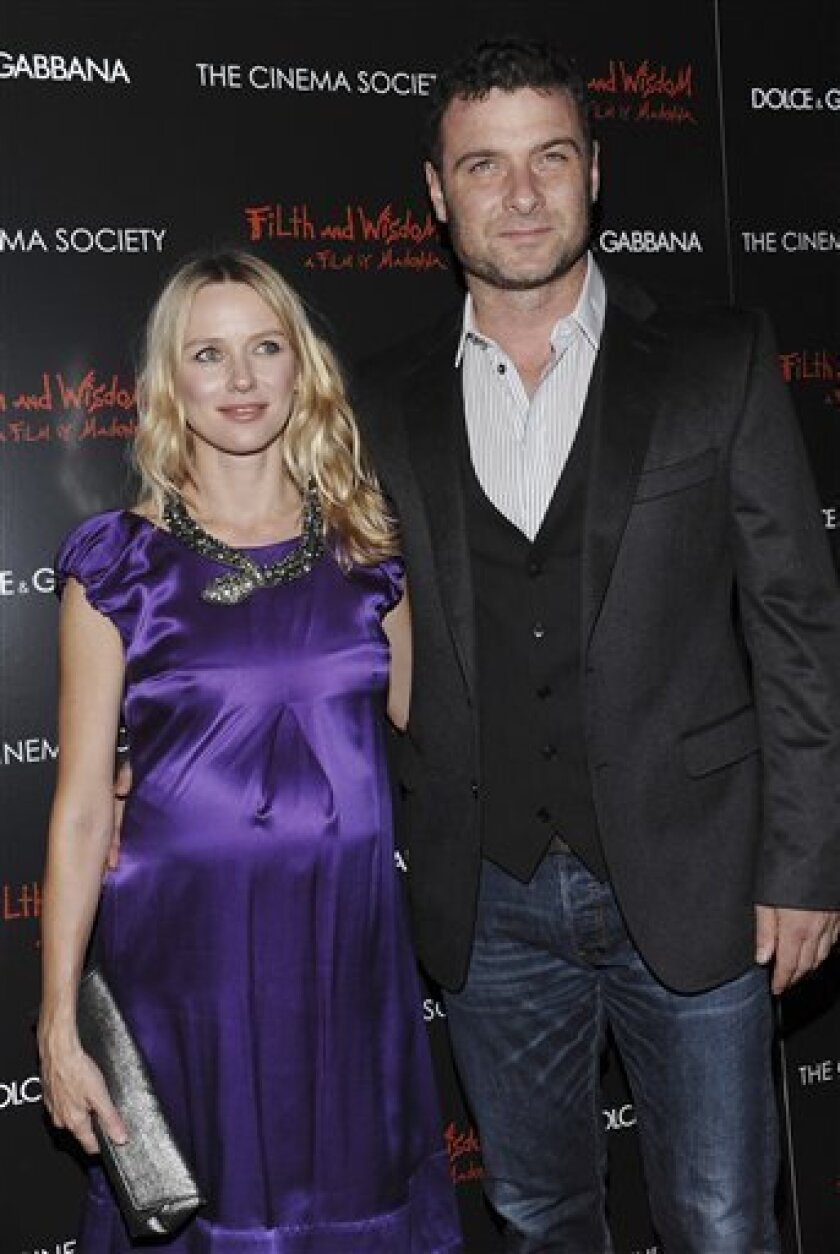 This Oct. 23, 2008 file photo shows actors Naomi Watts and boyfriend Liev Schreiber as they attend a Cinema Society and Dolce Gabbana hosted special screening of 'Filth and Wisdom' in New York. It's another boy for Naomi Watts and Liev Schreiber. A representative for Watts tells People magazine the couple welcomed their second son on Saturday. (AP Photo/Evan Agostini, FILE)