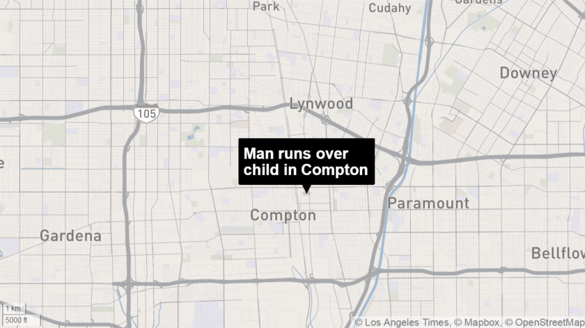 A man accidentally ran over and killed his girlfriend's child on Saturday in Compton, sheriff's officials said.