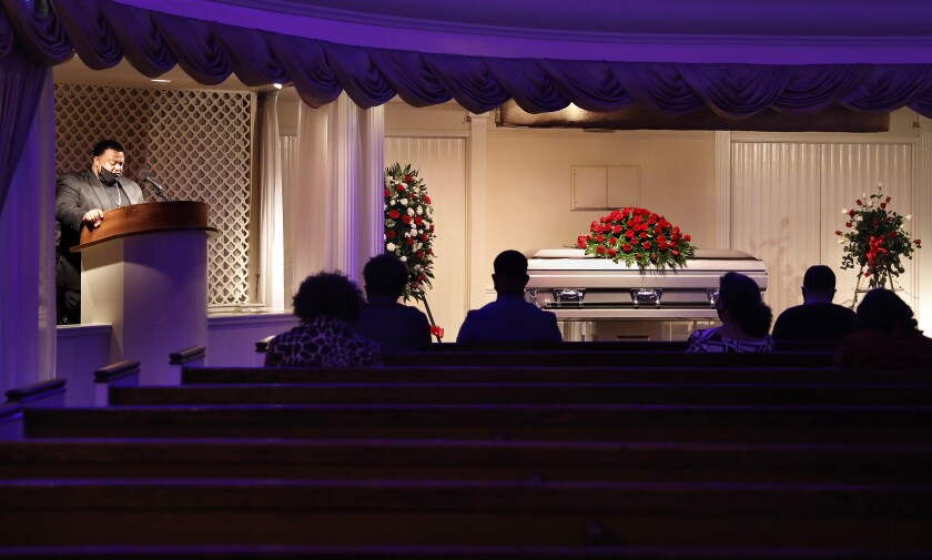 A funeral service for Charles Jackson, who died from COVID-19, was held at Angelus Funeral Home in L.A.