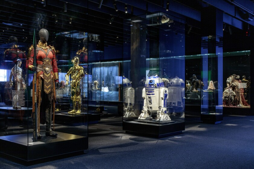 """Characters from """"Black Panther,"""" """"Star Wars"""" and """"The Shape of Water"""" at the Academy Museum of Motion Pictures."""