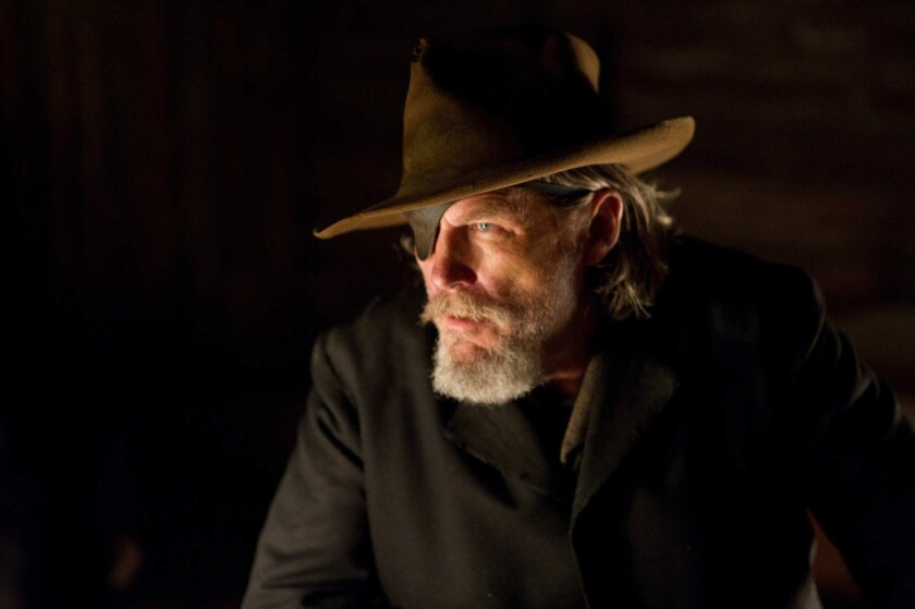 "Jeff Bridges as 'Rooster Cogburn' in ""True Grit."""